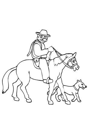 Ausmalbilder Pferd mit mexikanischem Reiter - Pferde Malvorlagen