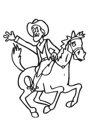 Ausmalbilder Comic Cowboy Pferd Pferde Malvorlagen