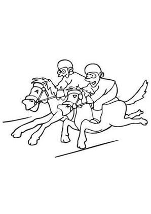 Ausmalbilder Comic Pferde Rennen - Pferde Malvorlagen