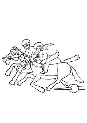 Ausmalbilder Comic Pferderennen - Pferde Malvorlagen