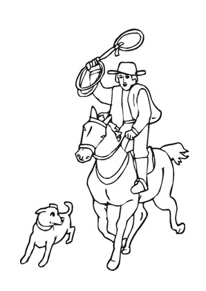 Ausmalbilder Cowboy Mit Lasso Und Pferd Pferde Malvorlagen