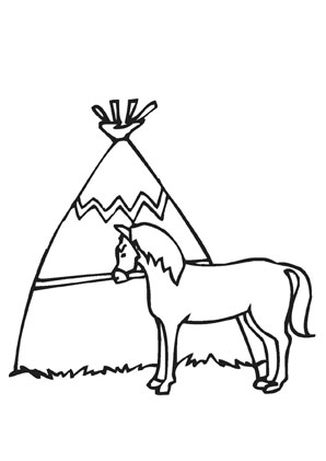 Ausmalbilder Indianerpferd - Pferde Malvorlagen