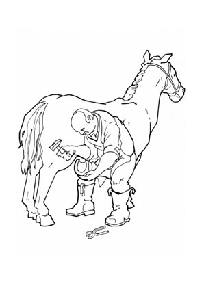 Ausmalbilder Pferd beim Hufschmied - Pferde Malvorlagen