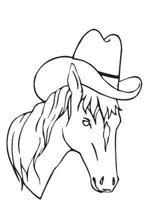 Ausmalbilder Pferdekopf mit Cowboyhut - Pferde Malvorlagen