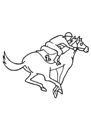 Ausmalbilder Rennpferd Nummer 2 - Pferde Malvorlagen